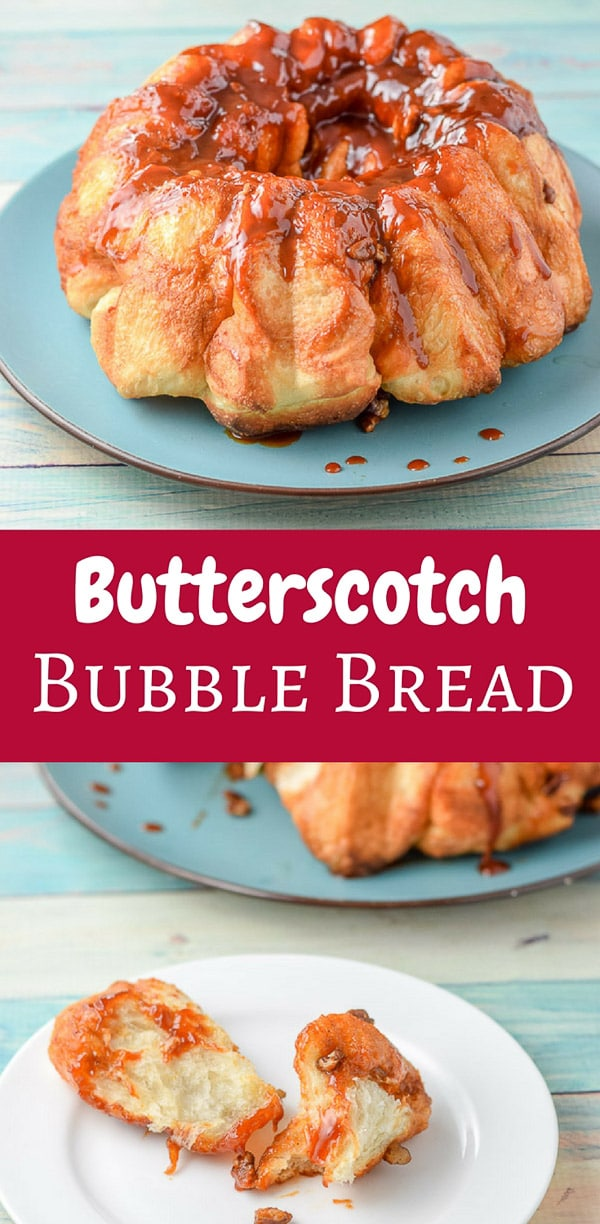 This is my aunt Helen's Butterscotch Bubble Bread!  IT is so delicious that you must, I repeat MUST have people over to help you eat it.  Your thighs will thank you. #bubblebread #butterscotch #dishesdelish #dishesdelishrecipes http://ddel.co/bbubbrd