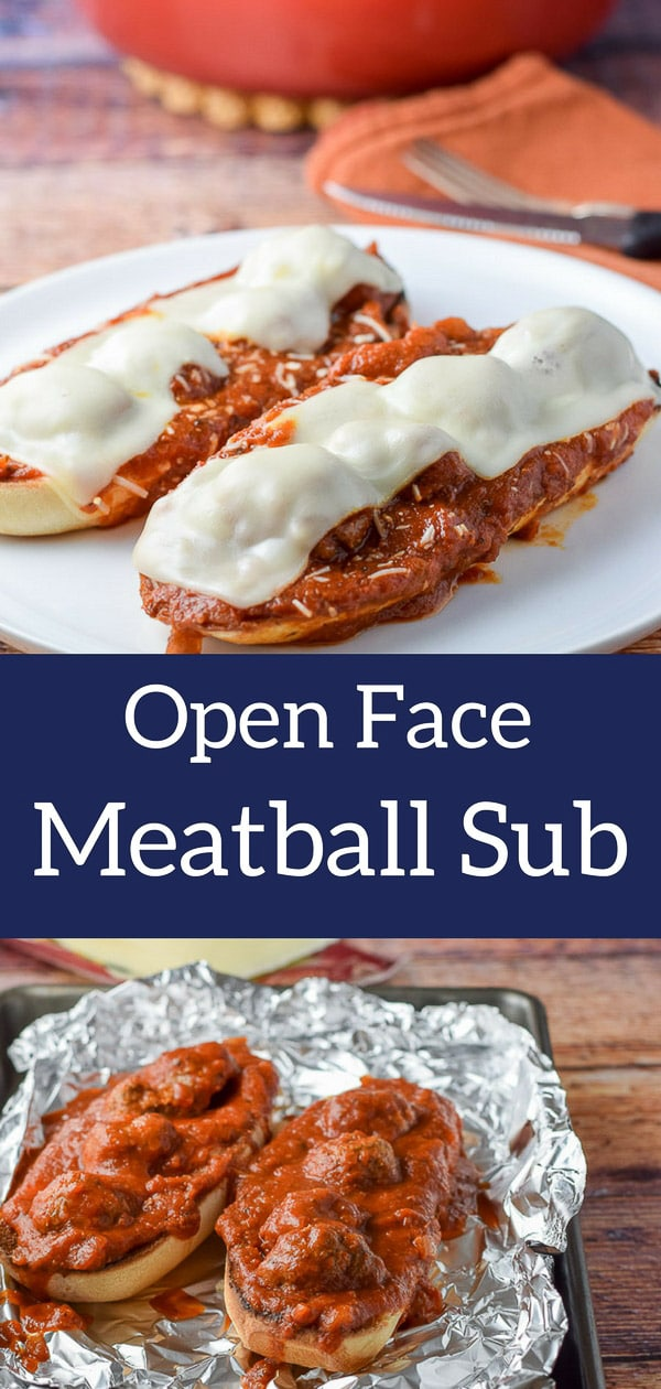 This meat ball sub is extra delicious because it's open faced and fun to eat with a knife and fork! #meatballsub #meatballs #italian #sub #dishesdelishrecipes http://ddel.co/meatbsub