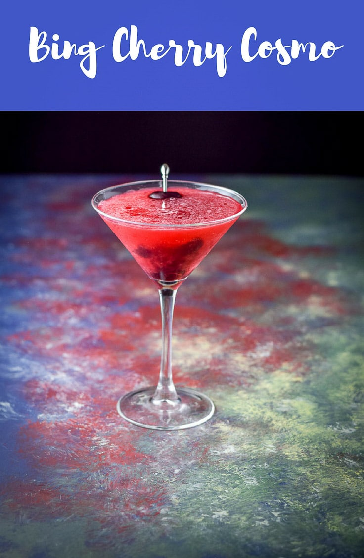 This Bing Cherry Cosmo cocktail is super fun.  The color is glorious and easy on the eye.  And it's oh so tasty. #cosmo #cherrycosmo #cocktail #drink #dishesdelish #dishesdelishcocktails http://ddel.co/bcccktl