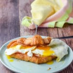 Another view of the ham, egg and cheese croissant sandwich