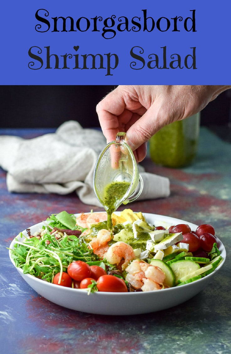 This Smorgasbord garlic shrimp salad is super easy, really pretty and extra delicious.  Wow your dinner guests with this fun salad! #garlicshrimp #shrimp #salad #dishesdelish #dishesdelishrecipes https://ddel.co/smobdssl