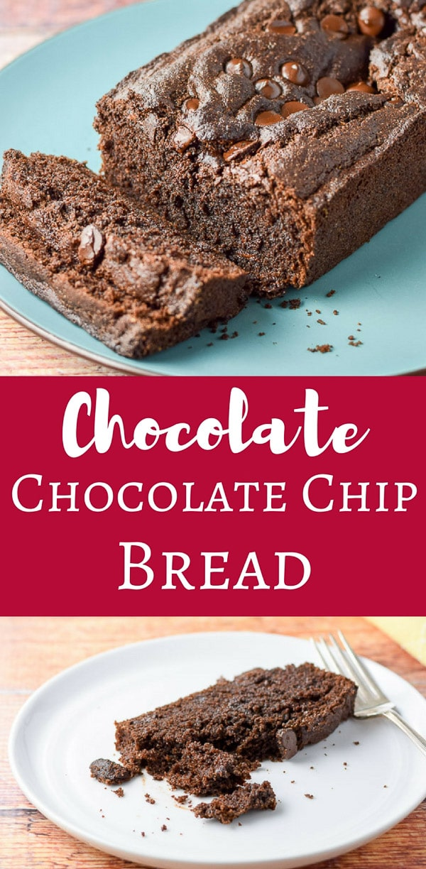 This Chocolate, Chocolate Chip Bread is so delicious, you are going to want it every day for breakfast, snack and dessert.  Trust me, I know. #chocolate #chocolatebread #sweetbread #dishesdelish #dishesdelishrecipes http://ddel.co/chchcpbrd