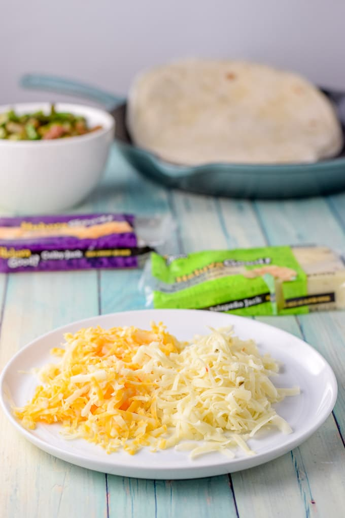 Shredded Heluva Good cheese for the deliciously cheesy vegetarian quesadillas
