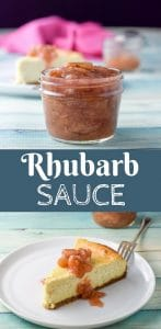 Rhubarb sauce can be draped on just about anything. Or eat it by the spoon! It's slightly tart but balanced nicely!