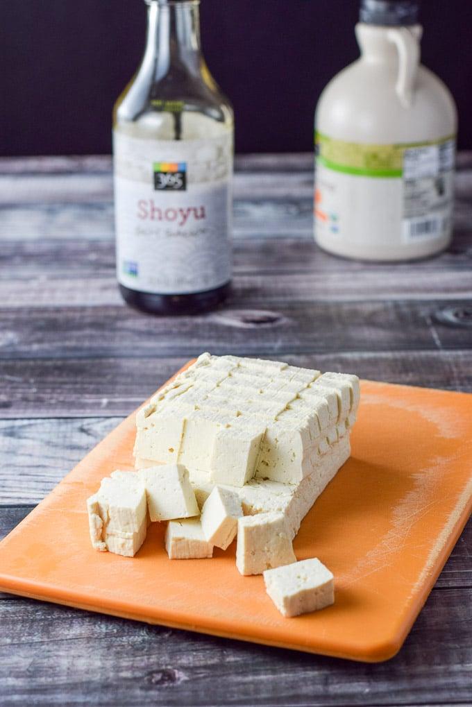 Tofu cut up for the sauteed soy maple tofu