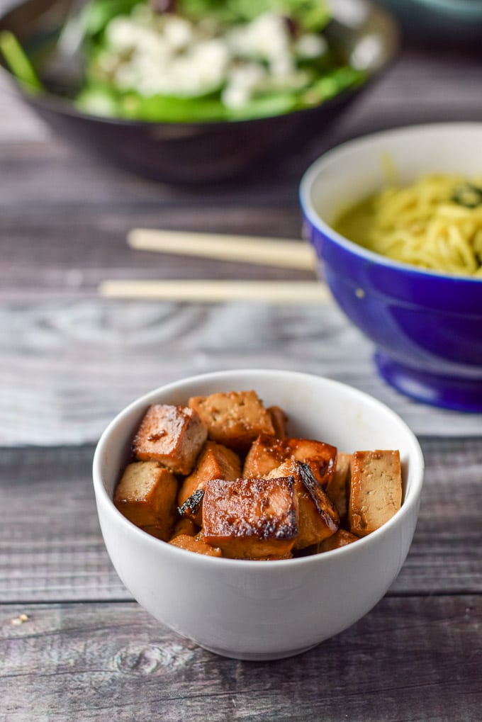 Close up view of the sauteed soy maple tofu!