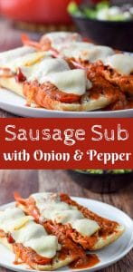 This delicious Sausage Sub with Onion & Pepper is so fun to eat. It's tasty and great because you can eat it with a fork and knife. Or with your hands if you like getting them dirty!!
