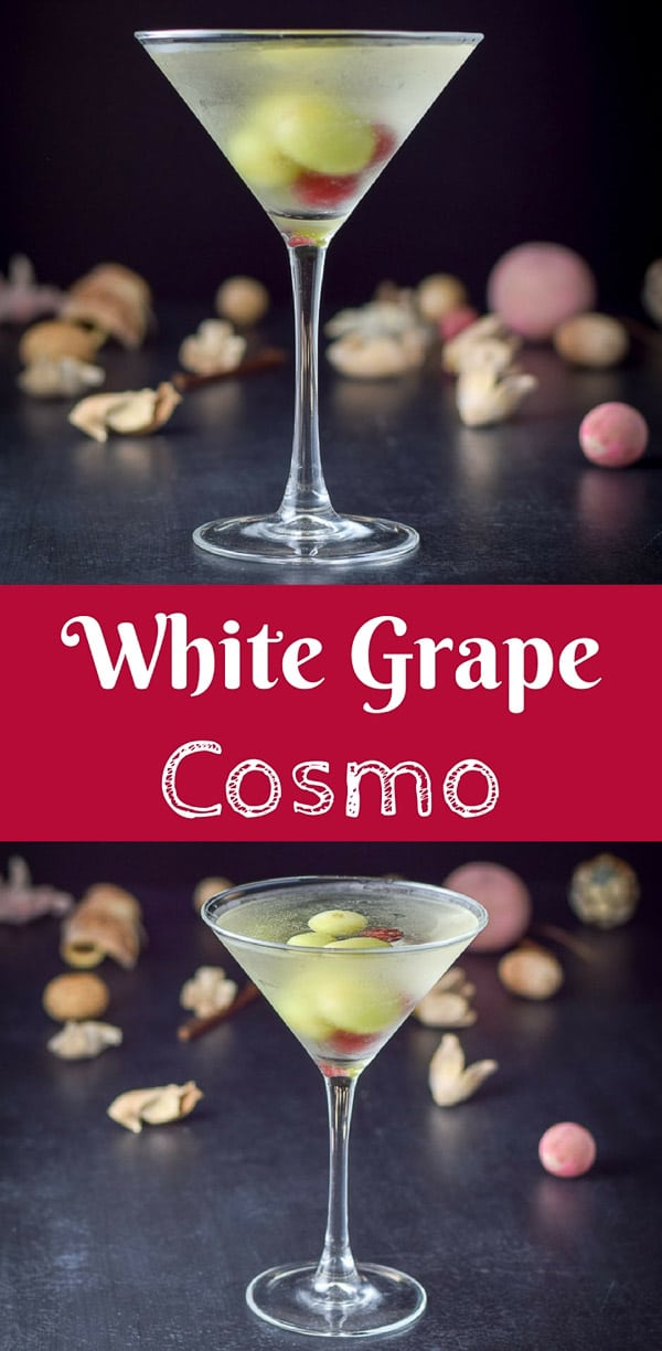 This white grape cosmo cocktail is so cute you will want to stare at it for hours before you take a sip.  What am I saying?  You'll want to guzzle it because it is so good. #cosmo #whitegrape #grapecosmo #cocktail #drink #dishesdelish #dishesdelishcocktails http://ddel.co/wtgpcosmo