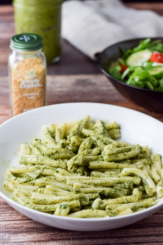 Close up of the versatile vegan pesto sauce on pasta