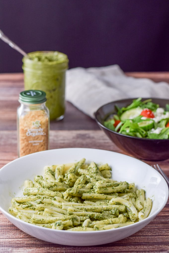 versatile vegan pesto sauce on some pasta with a salad. So good!