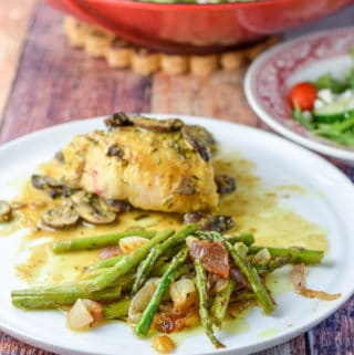 Awesome Asparagus and Shallots plated with some chicken