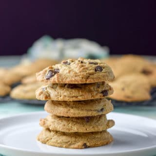 Vertical shot of the eat them all chocolate chip cookies