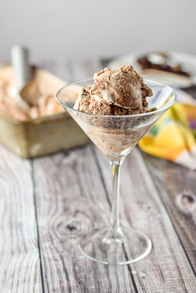 Scoops of no churn rocky road ice cream into a martini glass