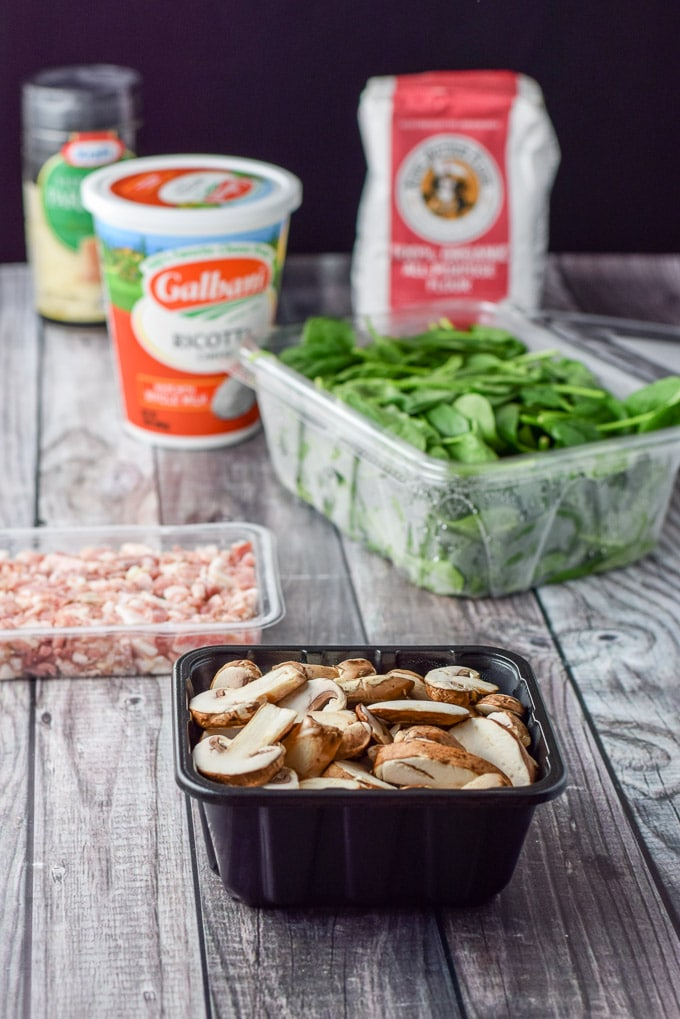 Ingredients for the Gnocchi with Pancetta Mushroom and Spinach