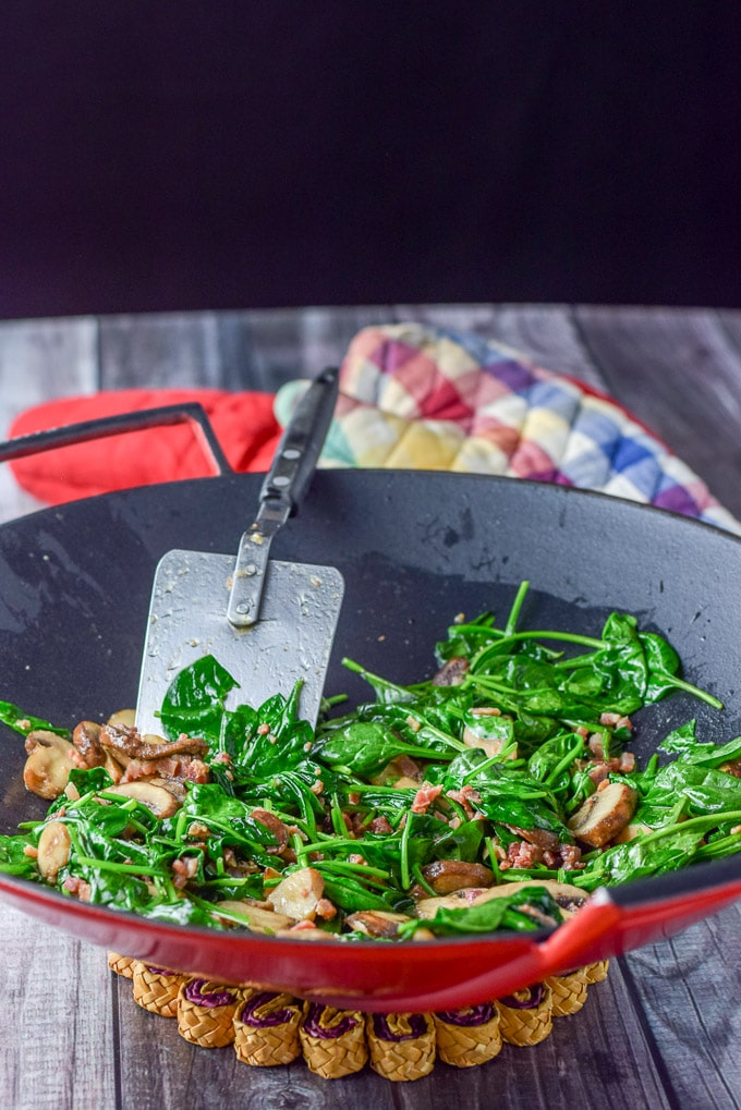 Spinach, pancetta and mushrooms sautéed for the Gnocchi with Panchetta Mushroom and Spinach