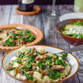 Gnocchi with Pancetta, Mushroom and Spinach