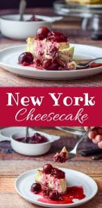 This classic New York cheesecake can either be eaten plain or with a delicious sauce on it, like this cherry sauce. It is soooo creamy and delicious!