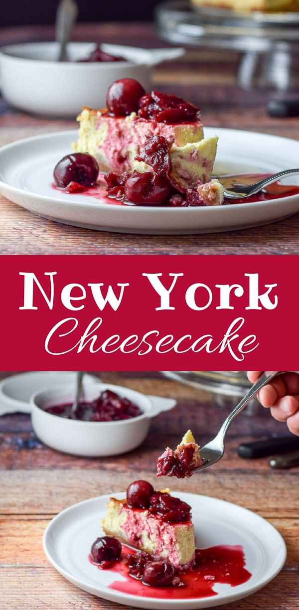 This classic New York cheesecake can either be eaten plain or with a delicious sauce on it, like this cherry sauce.  It is soooo creamy and delicious! #cheesecake #newyorkcheesecake #dessert #dishesdelishrecipes https://ddel.co/nyccke