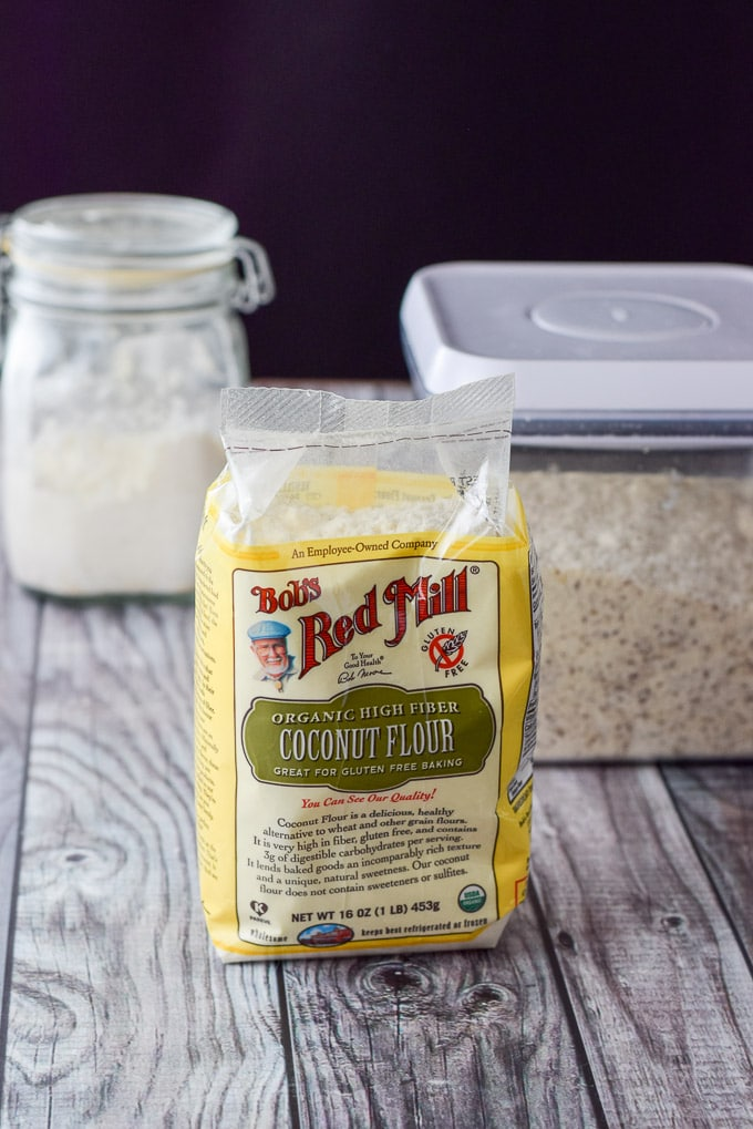 Coconut flour, almond flour and tapioca flour for the healthy pumpkin chocolate chip muffins