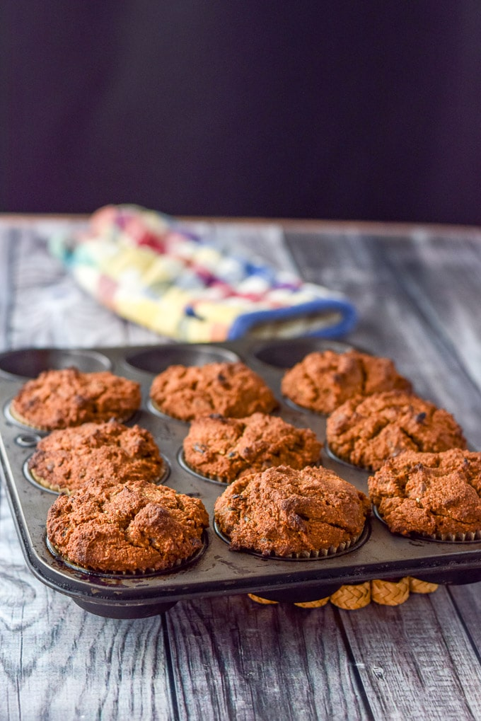 healthy pumpkin chocolate chip muffins fresh out of the oven!