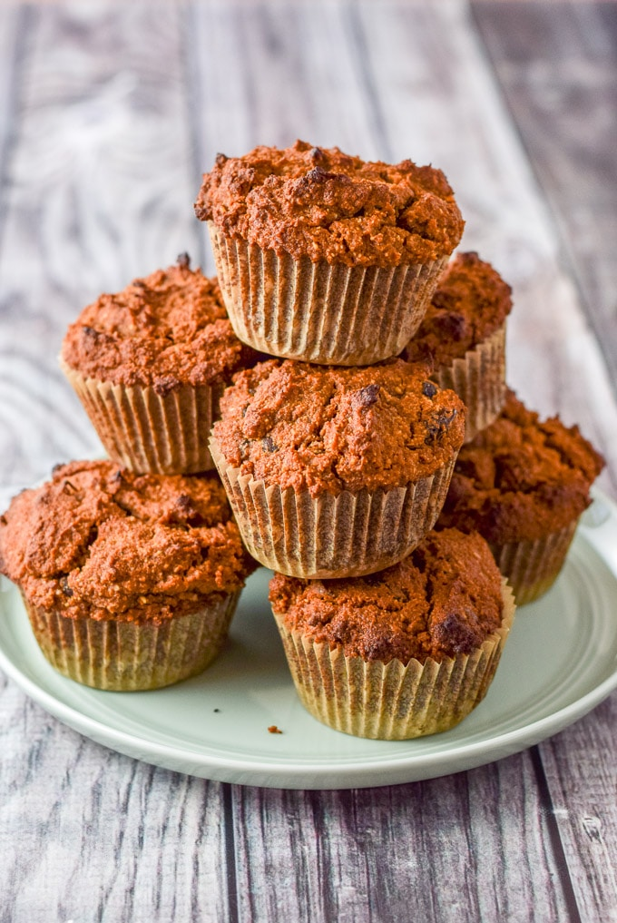 Big plate of healthy pumpkin chocolate chip muffins