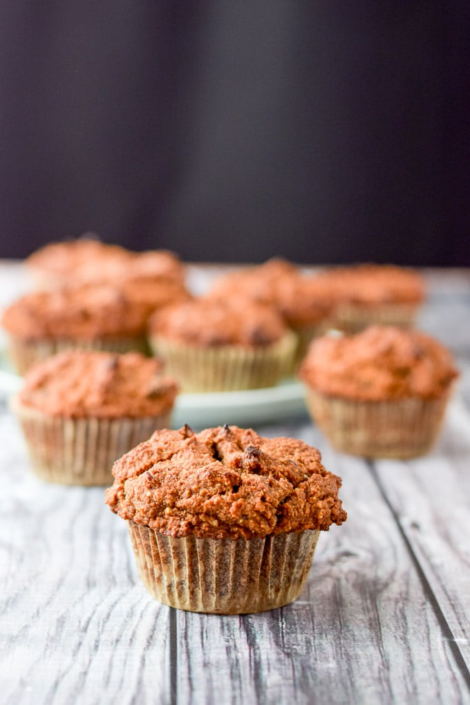Close up of the healthy pumpkin chocolate chip muffins