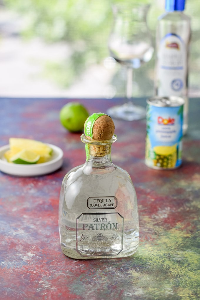 Patron Silver tequila, simple syrup, lime juice and pineapple juice for the matador cocktail