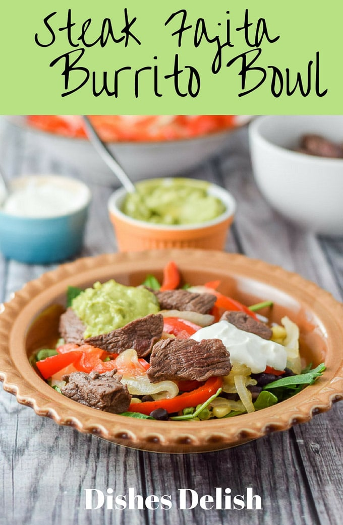 This steak fajita burrito bowls are so scrumptious that you are going to want to dance around a sombrero when you eat this! #steak #mexican #steakfajita #burritobowl #dishesdelish #dishesdelishrecipes https://ddel.co/stfbbowl
