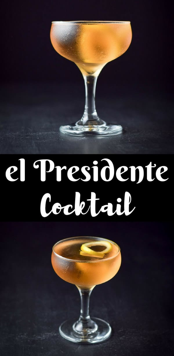 The excellent el presidente cocktail is so fancy and classic that you will feel like a fancy pants drinking it! At least I do when I sip this classic cocktail! #elpresidente #cocktail #dishesdelishcocktails https://ddel.co/elpresct