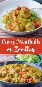 These curry meatballs on zoodles are so delicious that you will want to serve it to everyone you see. Mail carrier, UPS guy etc.....The meatballs are so succulent and the curry sauce is delicious!