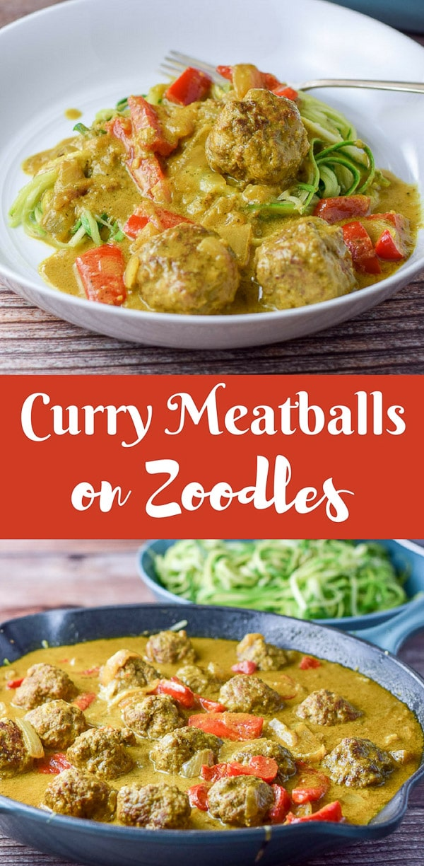 These curry meatballs on zoodles are so delicious that you will want to serve it to everyone you see.  Mail carrier, UPS guy etc.....The meatballs are so succulent and the curry sauce is delicious! #zoodles #curry #meatball #dishesdelish #dishesdelishrecipes https://ddel.co/cmtbllz