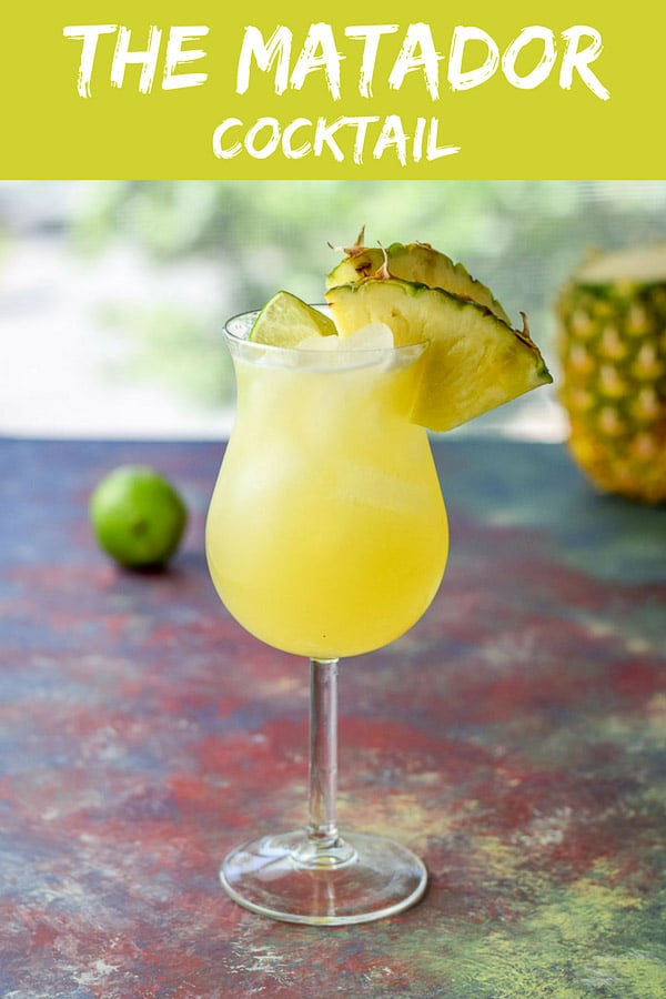 This matador cocktail is so delicious you would be so sad if a bull knocked it over before you could taste it.  It is that good.  It's perfect for drinking in the summer while you sit by the pool.  #matadorcocktail #cocktail #drink #tequila #dishesdelish #dishesdelishcocktails https://ddel.co/matccktl