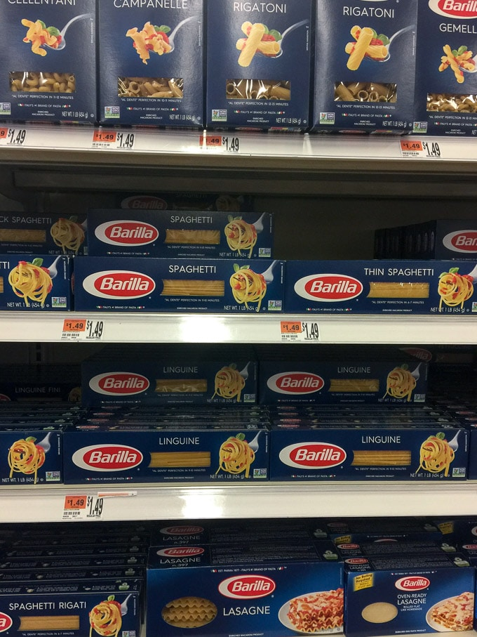 Barilla Spaghetti and pasta at Big Y ready to be made into Claire's Special Spaghetti Extravaganza