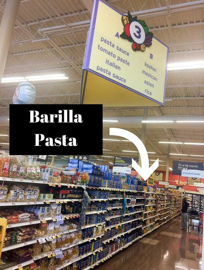 Big Y store, pasta aisle with arrow for Claire's Special Spaghetti Egg Extravaganza
