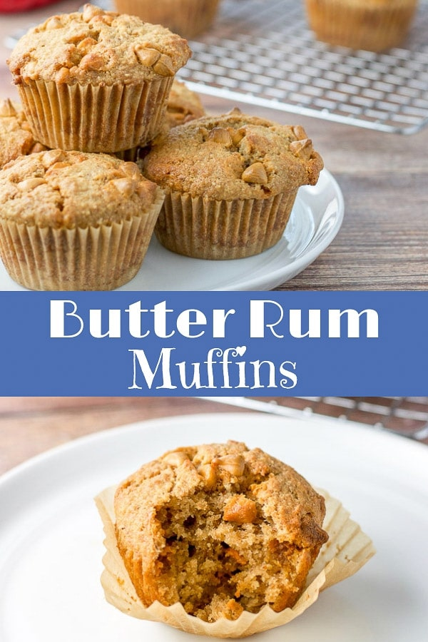 These butter rum muffins have a perfect balance of flavors.  From the fun taste of the  rum to the sweet of the butterscotch chips they will satisfy all your breakfast needs.  #butterscotch #butterrum #muffins #dishesdelish https://ddel.co/bttrrum