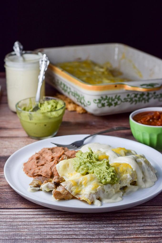 Chicken Enchiladas With White Sauce Dishes Delish