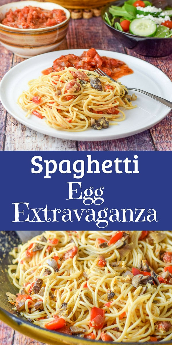 Imagine some delicious spaghetti with sautéed with shallots, pepper and mushrooms, then imagine sautéing them with some eggs!  This Spaghetti Egg Extravaganza is so delicious and comforting.  It's a fun way to use up leftover pasta! #spaghetti #egg #pasta #dishesdelish #dishesdelishrecipes https://ddel.co/speggex