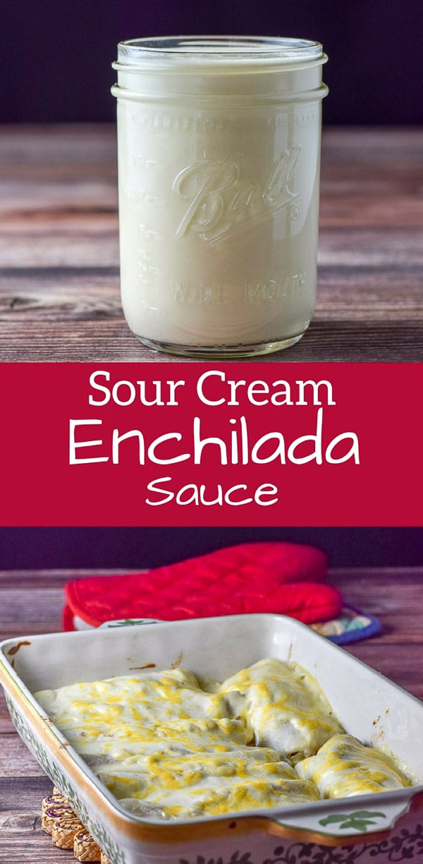 Sour Cream Enchilada Sauce is not only easy to make but it is delicious and versatile!! Drape it on enchiladas, on veggies, on pasta or eat by the spoon. I dare you! #enchiladasauce #whitesauce #sourcreamsauce #enchiladas #dishesdelishrecipes http://ddel.co/sc-ench-sauce
