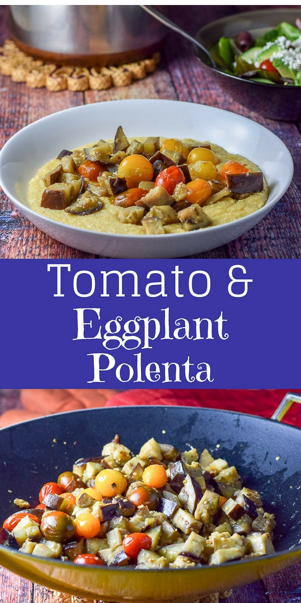 Tomato and Eggplant Polenta is such a terrific recipe. It's creamy and delicious and such a comfort food! #polenta #eggplant #dishesdelish #dishesdelishrecipes https://ddel.co/ttepolenta