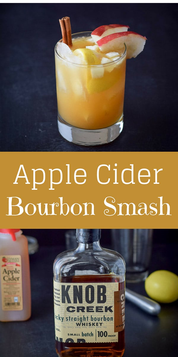 This #apple #cider #bourbon #smash #cocktail is so yummy. It is perfect to serve over the holidays. But not just for that time, but year round, that's how good it is.  Try it and see. #dishesdelishcocktails https://ddel.co/acbsc