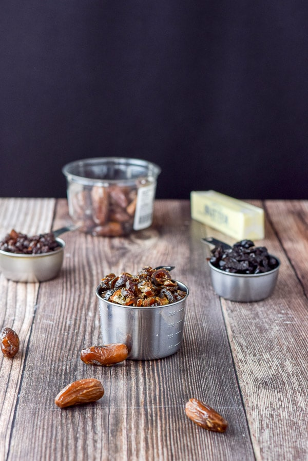 Dates, prunes, raisins and butter for the delish date nut muffins