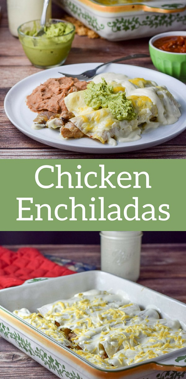 Easy Chicken Enchiladas with Sour Cream Sauce so easy and extra delicious!  Chicken thigh meat sautéd with shallots, rolled in tortillas and slathered with sour cream sauce. #chickenenchiladas #Mexicanfood #enchiladas #dishesdelishrecipes https://ddel.co/echicen