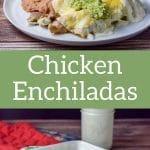 Easy Chicken Enchiladas with Sour Cream Sauce so easy and extra delicious! Chicken thigh meat sautéd with shallots, rolled in tortillas and slathered with sour cream sauce.