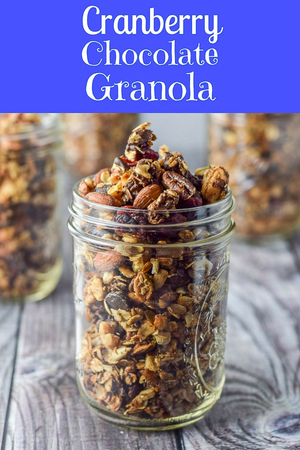 Cranberry Chocolate Granola is so delicious you're going to have to hide it so you don't eat it all in one sitting! It's perfect for brunch, just dollop it on some yogurt with some fruit and it's perfect.  It makes for a great gift too! #granola #chocolategranola #cranberry #dishesdelish #dishesdelishrecipes https://ddel.co/crnchgran