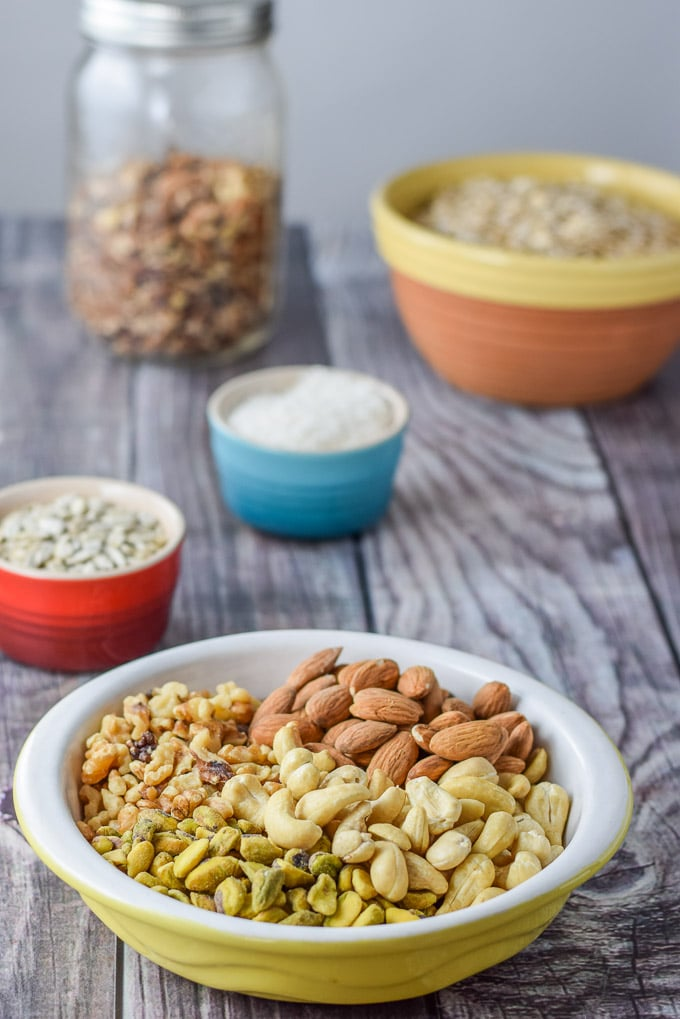 Pistachio, Cashews, walnuts, almonds, sunflower seeds and oats for the cranberry chocolate granola