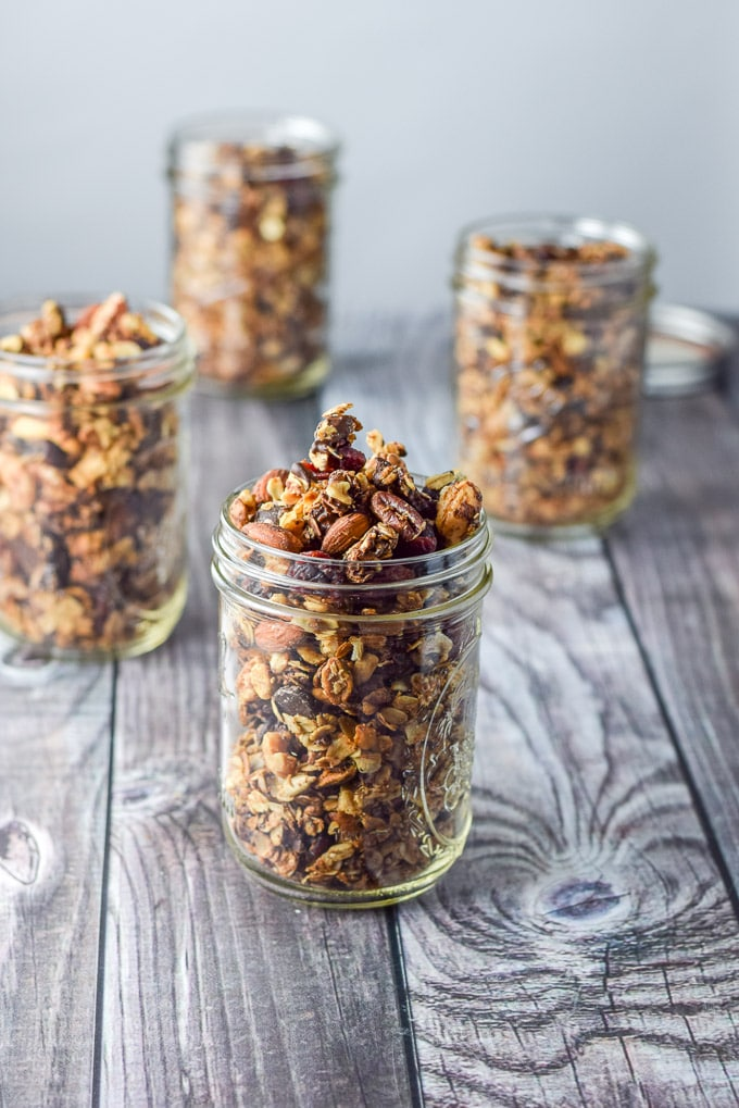 Jarred up cranberry chocolate granola ready to be gifted