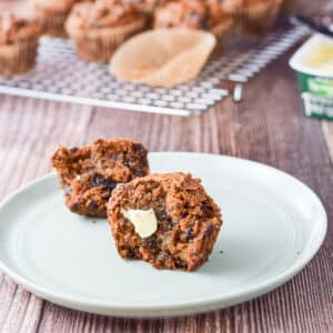 One of the date nut muffins cut and slathered with butter