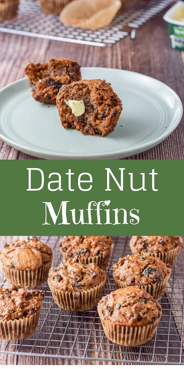 Delish Date Nut Muffins are so moist and tasty! I love how much fiber is in them and they are so satisfying!  Oh, and there isn't any added sugar!  Grab one now! #datenut #datenutmuffins #muffins #breakfast #dishesdelish #dishesdelishrecipes https://ddel.co/datenutmuffhttps://ddel.co/datenutmuff