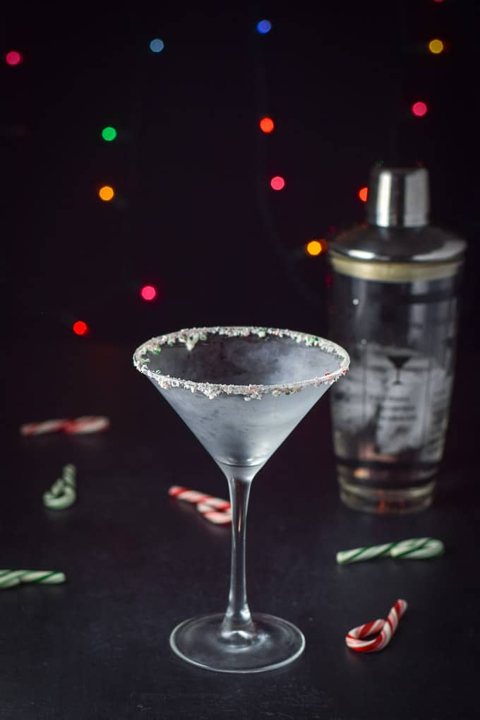 Frosted glass with crushed candy canes on the rim for the holiday chocolate candy cane martini