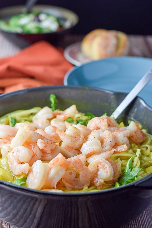 Shrimp piled on the noodles for the shrimp curry noodle